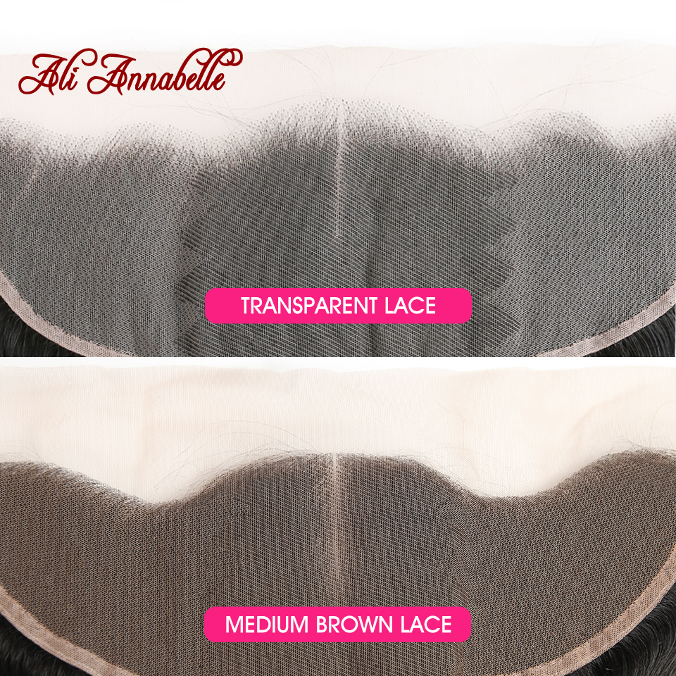 Image 2 - ALI ANNABELLE Straight Lace Frontal Closure Medium Brown/Transparent Lace Frontal Brazilian Human Hair 13x4 Ear To Ear Frontal-in Closures from Hair Extensions & Wigs