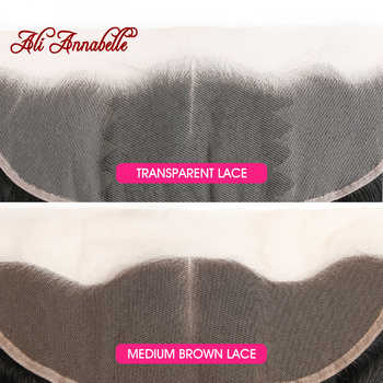ALI ANNABELLE Straight Lace Frontal Closure Medium Brown/Transparent Lace Frontal Brazilian Human Hair 13x4 Ear To Ear Frontal