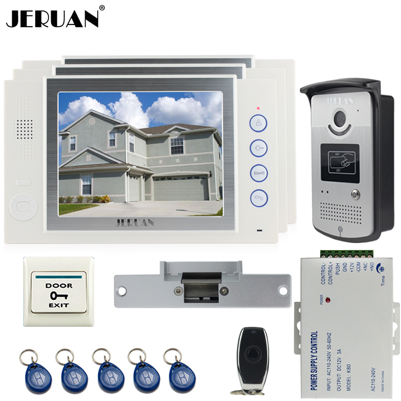 JERUAN 8`` video door phone Record intercom system kit 3 house Aluminum panel 700TVL RFID Access Camera 8GB SD card jeruan home 7 video door phone record intercom system kit rfid access ir camera 700tvl analog camera 8gb sd card e lock page 8