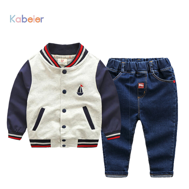 8fe2bf3e57fa6 US $29.95 |2017 Spring Baby Boys Clothing set Casual Sport Embroidery  Tracksuit Kabeier Infant Toddler Girls Clothes Baseball Jacket Jeans-in  Clothing ...