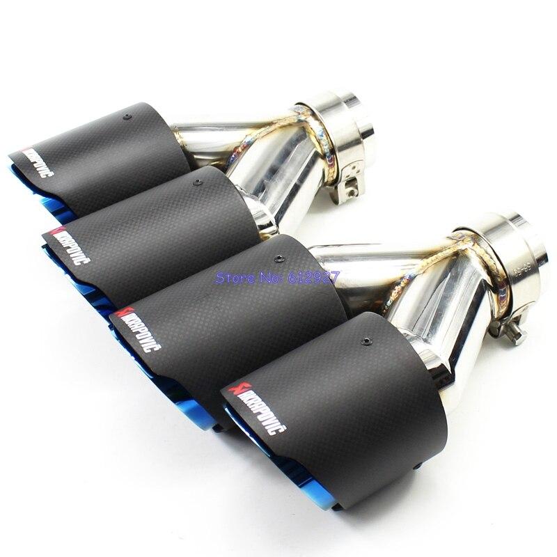 2 PZ: ID 51mm 54mm 57mm 60mm 63mm OD 89mm 101mm Blu Burnt Auto Tip di Scarico Akrapovic In Fibra di Carbonio tubo di Scarico Dual suggerimenti