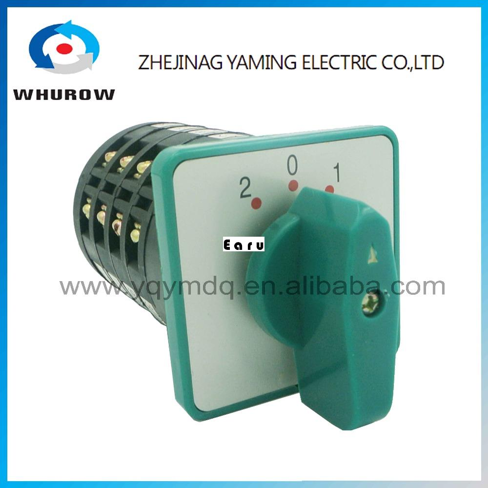LW6-5/4 high dc voltage automatic electrical changeover rotary cam switch 4 poles 3 positions 5A 10A sliver point contacts ui 440v ith 10a rotary knob 3 positions changeover cam switch station
