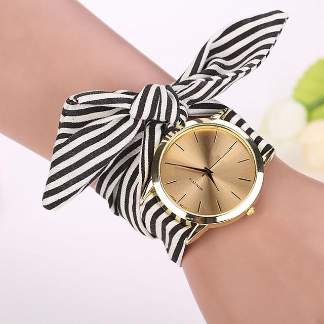 relogio feminino women watches Stripe Floral Cloth Band Clock Dial Bracelet Quar
