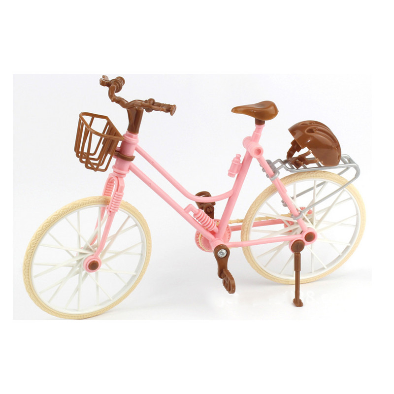 High Quality Beautiful Bicycle Fashion Detachable Pink Bike With Brown Plastic Helmet For Dolls Accessories