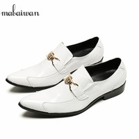 Mabaiwan Italy Fashion Designer Buckle Metal Handmade Casual Shoes Men Party Wedding Shoes Luxury Banquet Men
