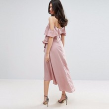 Haoduoyi NEW Summer Women Dress Casual Asymmetrical Solid Pink Female Dress Ruffles Lady Vestidos De Festa