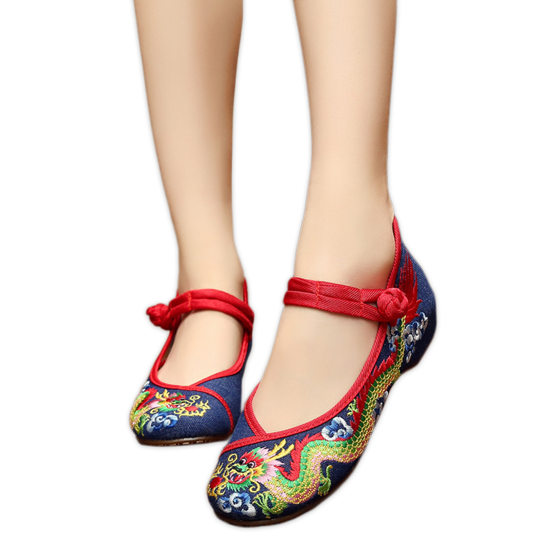 Fashion retro Chinese dragon flats shoes women simple sexy embroidery women casual flats shoes mary janes ladies canvas shoes