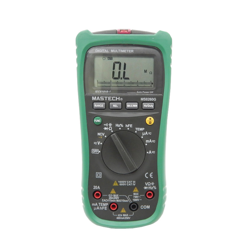 MASTECH MS8260G Auto Range Digital Multimeter ohm voltage and current Capacitance Frequency Temperature Meter with NCV mastech ms8260f 4000 counts auto range megohmmeter dmm frequency capacitor w ncv