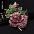 LINGLADY Cristal Rosa Broche de Flor Colorida Rosa broches de strass para Vestido de Noiva mulheres Bijuterias Presente para Março De 8
