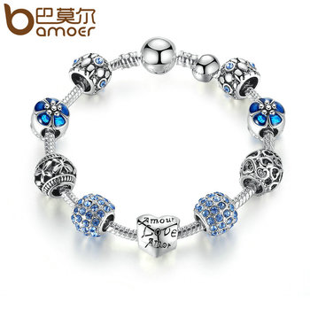 BAMOER Antique Silver Charm Bracelet & Bangle with Love and Flower Beads Women Wedding Jewelry 4 Colors 18CM 20CM 21CM PA1455 1