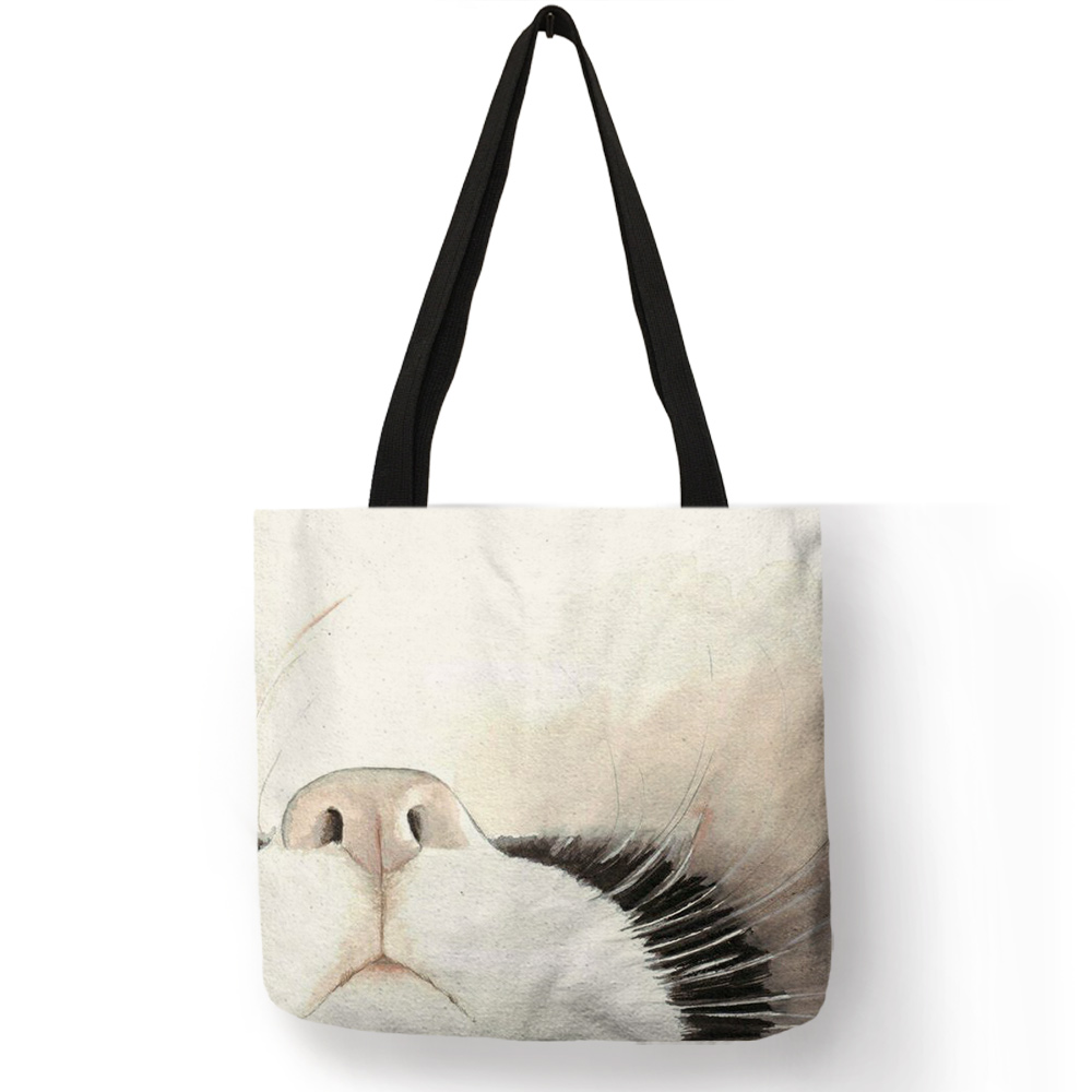 Us 4 5 55 Off Watercolor Hand Painted Tote Bags Fl Cute Cat Print Shoulder Bag For Women Lady Office Handbag Daily Casual Ping In