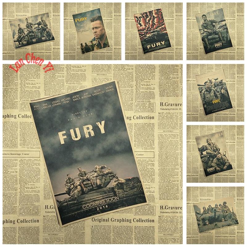 World War II films Fury Nostalgic Matte Kraft Paper Poster Office Gift Room Dining Home Decor wall sticker Design