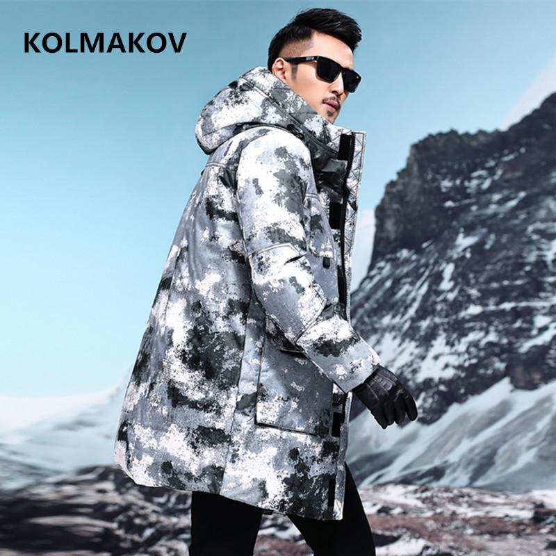 2018 winter Men's fashion   down   jacket mens high quality 90% white duck   down     coats   men Camouflage jacket men,winter men's   coat