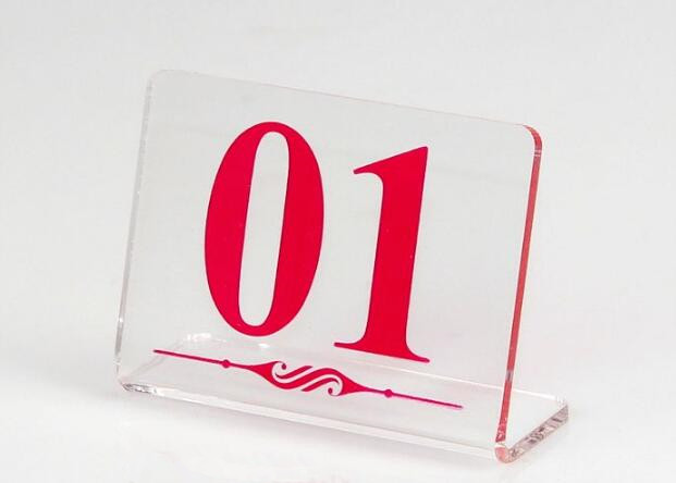10pcs L - type Restaurant table number card clear acrylic Digital Card seat card holder Hotel desk menu card Free shipping