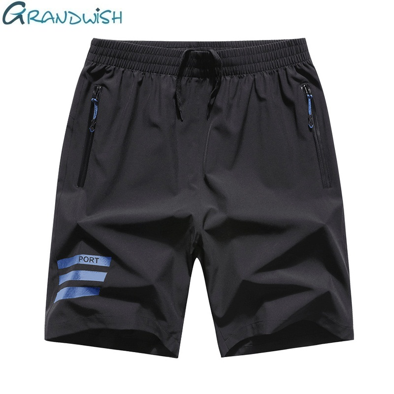Grandwish Summer Men Short Breathable Polyester Short Pants For Male Casual Elastic Waist Mens Shorts Big Size M-8XL,NA113
