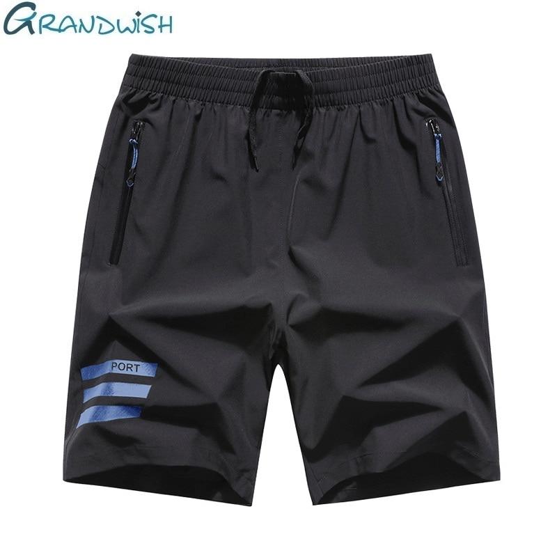 Grandwish Summer Men Short Breathable Polyester Short Pants For Male Casual Elastic Waist Mens Shorts Big Size M-8XL,NA113