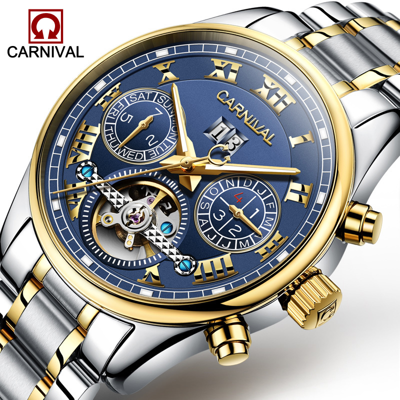 Carnival Watch Men tourbillon Automatic Mechanical Stainless Steel Waterproof multifunction Blue Dial Watches все цены