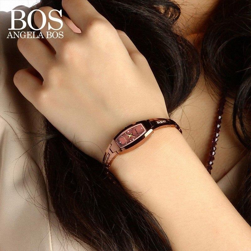ANGELA BOS montre de luxe en acier tungstène saphir étanche dames avec strass montres antichoc femmes montre en or Rose