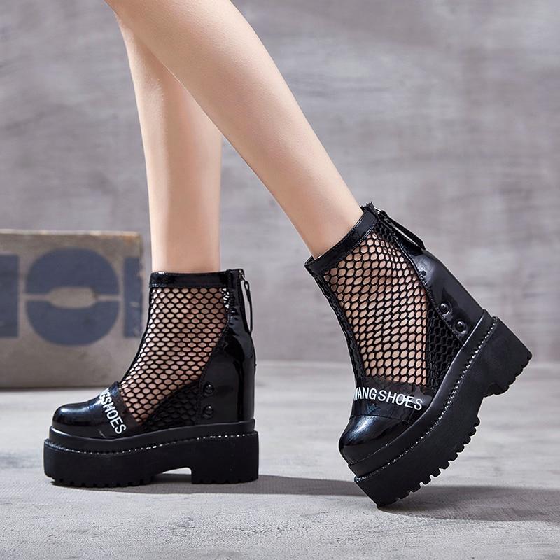 Sandalias Nuevo Cuña Plataforma De Mujer Negro Swonco Mayor Zip Sexy 2019 Para Verano Dama Alta Zapatos SqtxnTvwH