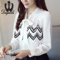 Dingaozlz 2017 bow lace tops female long sleeve elegant female chiffon OL shirt Korean women clothing stitching chiffon blouse