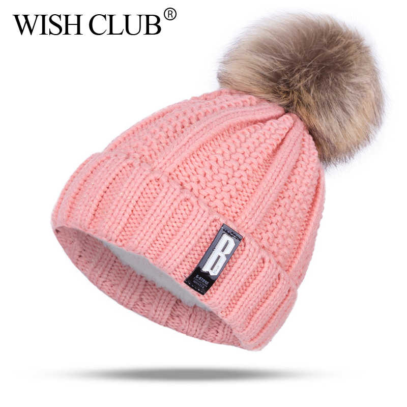 5bd8aa8e039 Fashion Cotton Knitted Pom Poms Hat For Girls Women Letter Winter Hat  Casaual Skullies Beanies Female