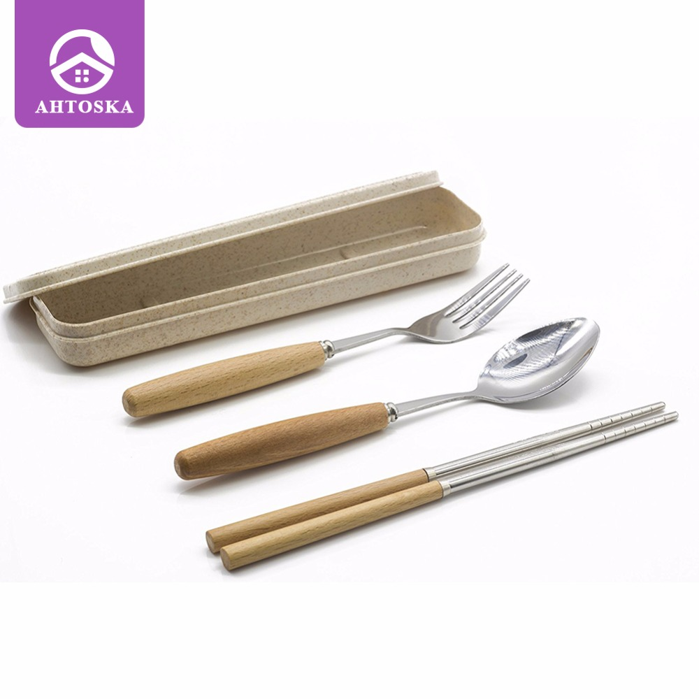 AHTOSKA Portable Tableware Set Stainless Steel Dinnerware Silver with Travel Box 3PCS/Box