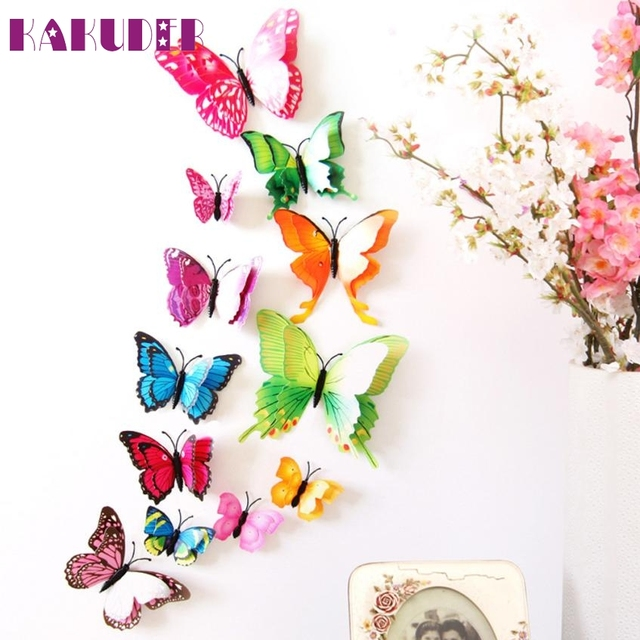 Captivating 3D DIY Wall Stickers Butterfly Home Decor Room Decorations New Magnetic  Stick Feb15