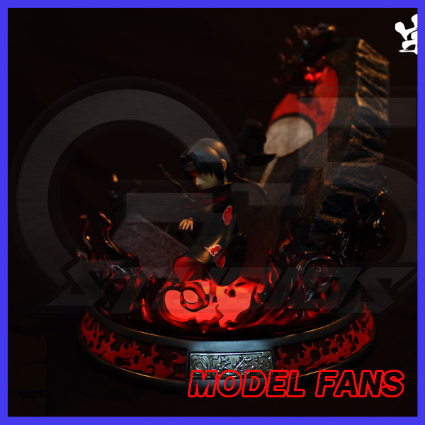 MODEL FANS presale 19cm NARUTO Uchiha Itachi Amaterasu GK resin statue figure for Collection pu short wallet w colorful printing of naruto shippuden uchiha itachi