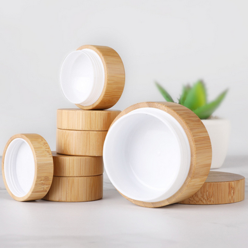 Natural Bamboo Refillable Bottle 5/10/15/20 30/50ml Cosmetics Jar Box Makeup Cream Storage Pot Container Round Bottle Portable