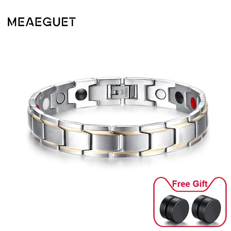 12mm Braccialetti di Salute Magnetica per Gli Uomini di Moda In Acciaio Inox Germanio Terapia Magnetica Dei Monili Pulsera bijoux Dropshipping