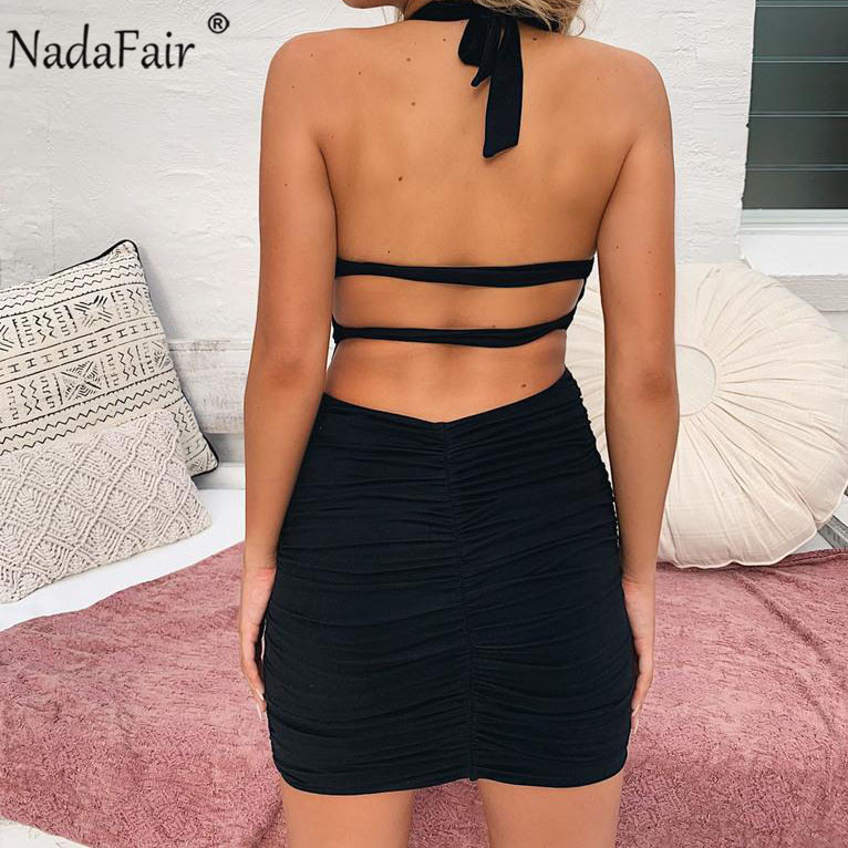 Nadafair Backless Sexy Bodycon Summer Dress Vestidos Women Deep V Neck Ruched Wrap Party Club Dress Halter Mini Bandage Dress