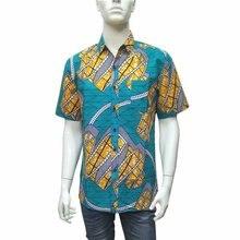 African Wax Print Short Sleeve Top Lapel Shirts for Men Printed Mens Dashiki Style Clothing  L-3XL 1805