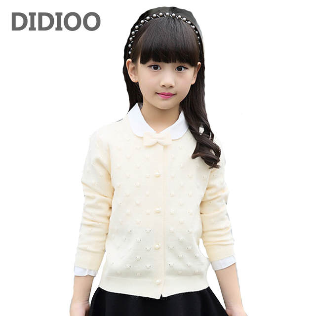 35096fd9b6347 Online Shop Girls Cardigan Cotton Knitted Sweaters For Girls Clothing  Children Outerwear 2 4 6 8 10 12 Years Kids Clothes Top School Uniform