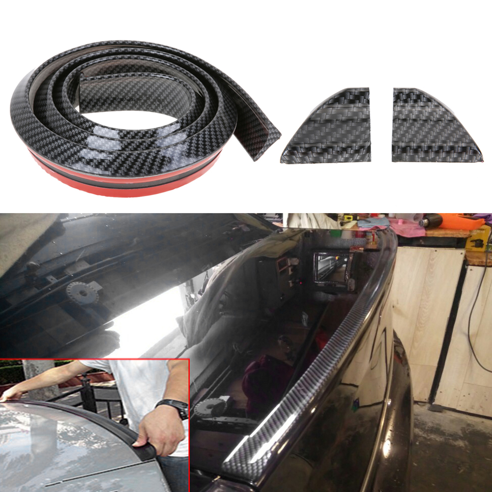 Newest Carbon Fiber Soft Rubber Car Rear Spoiler 40mmx1.5m Exterior Rear Spoiler Kit Universal Fits High Quality for Most Cars