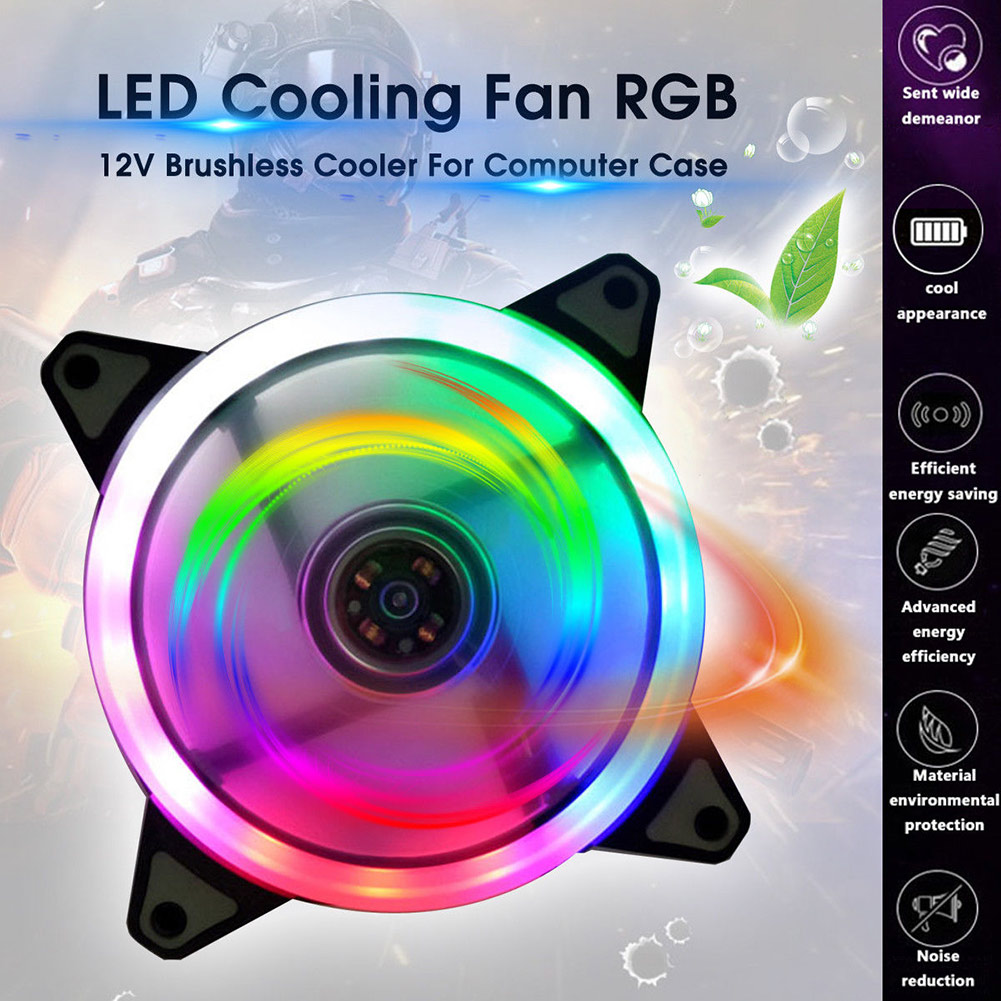 120mm LED Cooling Fan 12V 4Pin to 3Pin RGB Ultra Quiet Computer PC CPU Cooler EM88 image