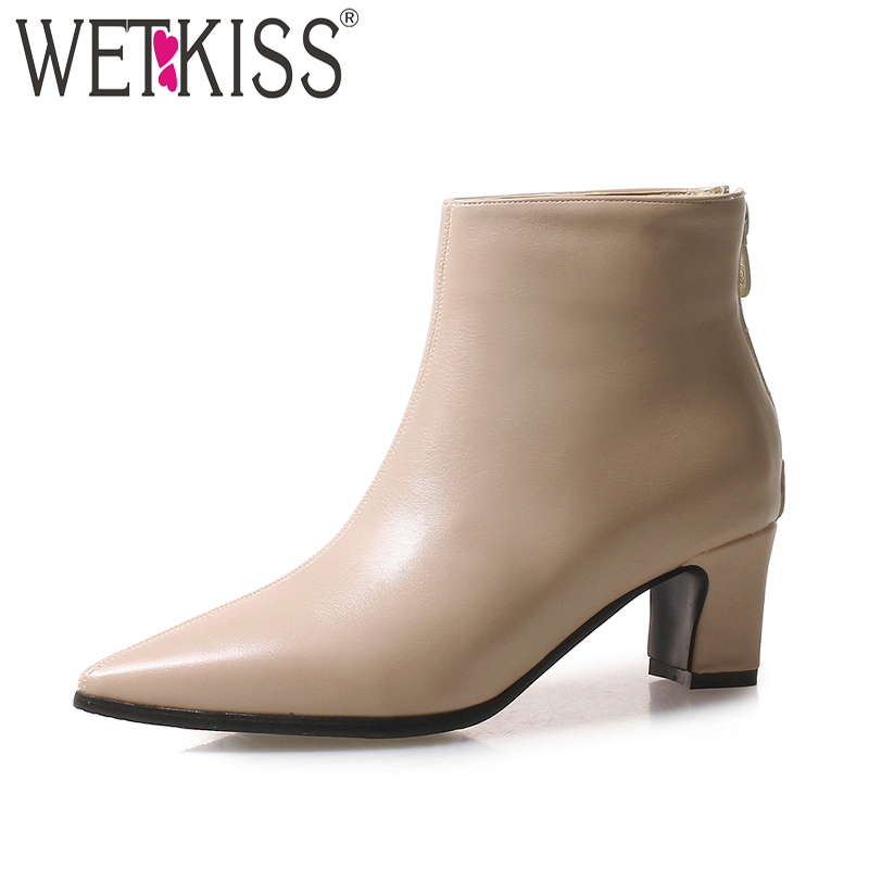 WETKISS New High Heels Women Ankle Boots Pointed Toe Rubber Pu Footwear Zip Female Boot Shoes Woman 2018 Autumn Plus Size 32-48 hee grand women ankle boots for 2017 new autumn solid pu pumps shoes pointed toe high heels boot shoes woman size 35 43 xwx4253
