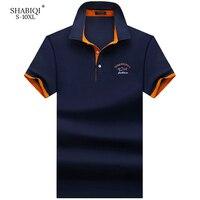 SHABIQI брендовая модная классическая мужская рубашка поло летняя рубашка поло с коротким рукавом мужская Однотонная рубашка хлопковая рубаш...