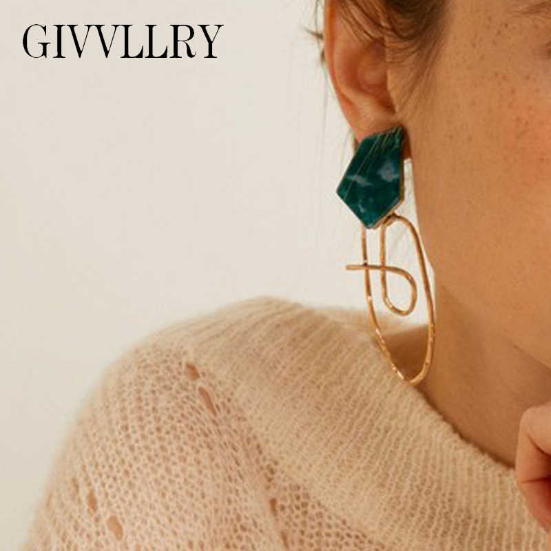 GIVVLLRY Irregular Statement Big Earrings for Women Green Acrylic Antique Gold Asymmetric Metal Drop Earrings Fashion Jewelry