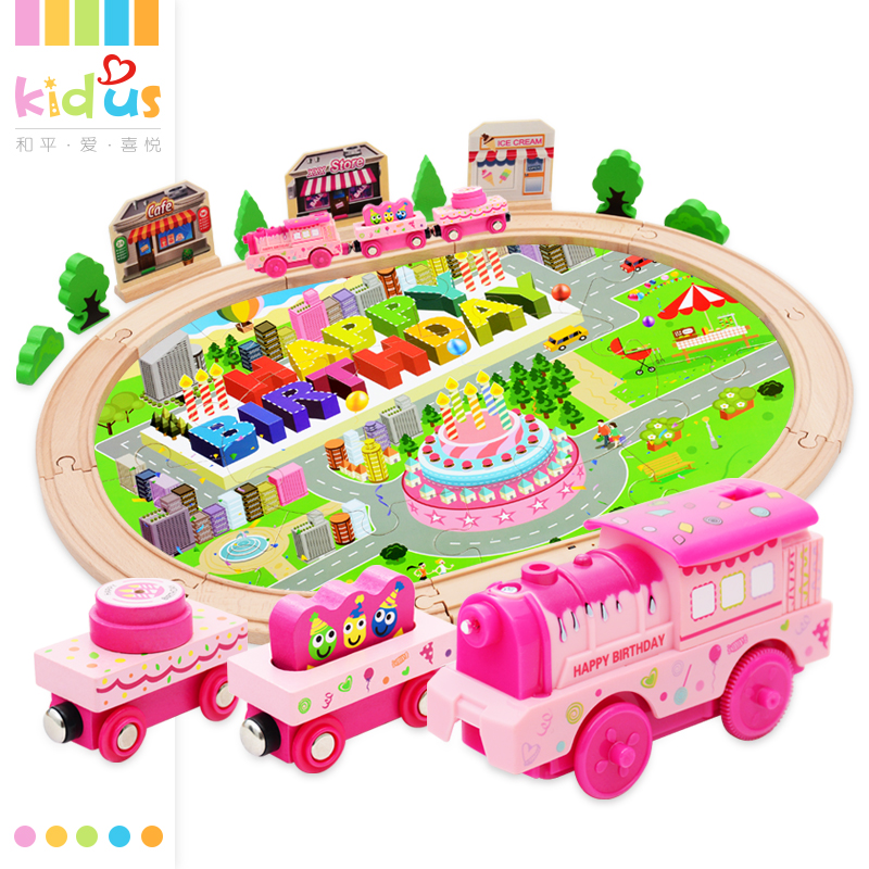 Zalami 39PC Pink wooden train children birthday gift Round Railway musical Track Kids Toy Hand Crafted play set DIY