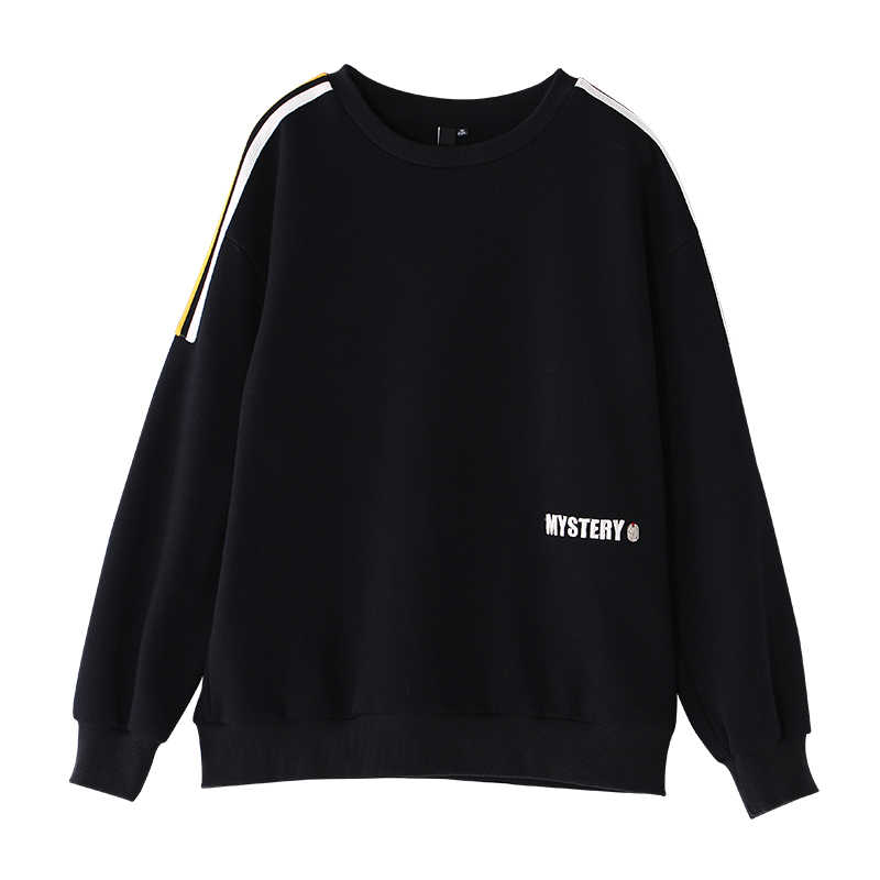 Toyouth Sudaderas Mujer 2019 Autumn Women Fleece Sweatshirt Embroidery Letter Long Sleeve Hoodies Casual Striped Tracksuits