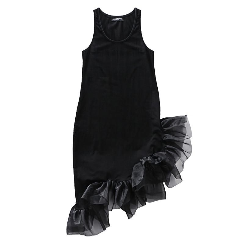Ab9 Robe Femmes Mini Nouveau Bref Mince Réservoir Coton Printemps Maille Pull De Noir D'o Tricot Patchwork cou 2018 Irrégulière Robes q0TUEw4f