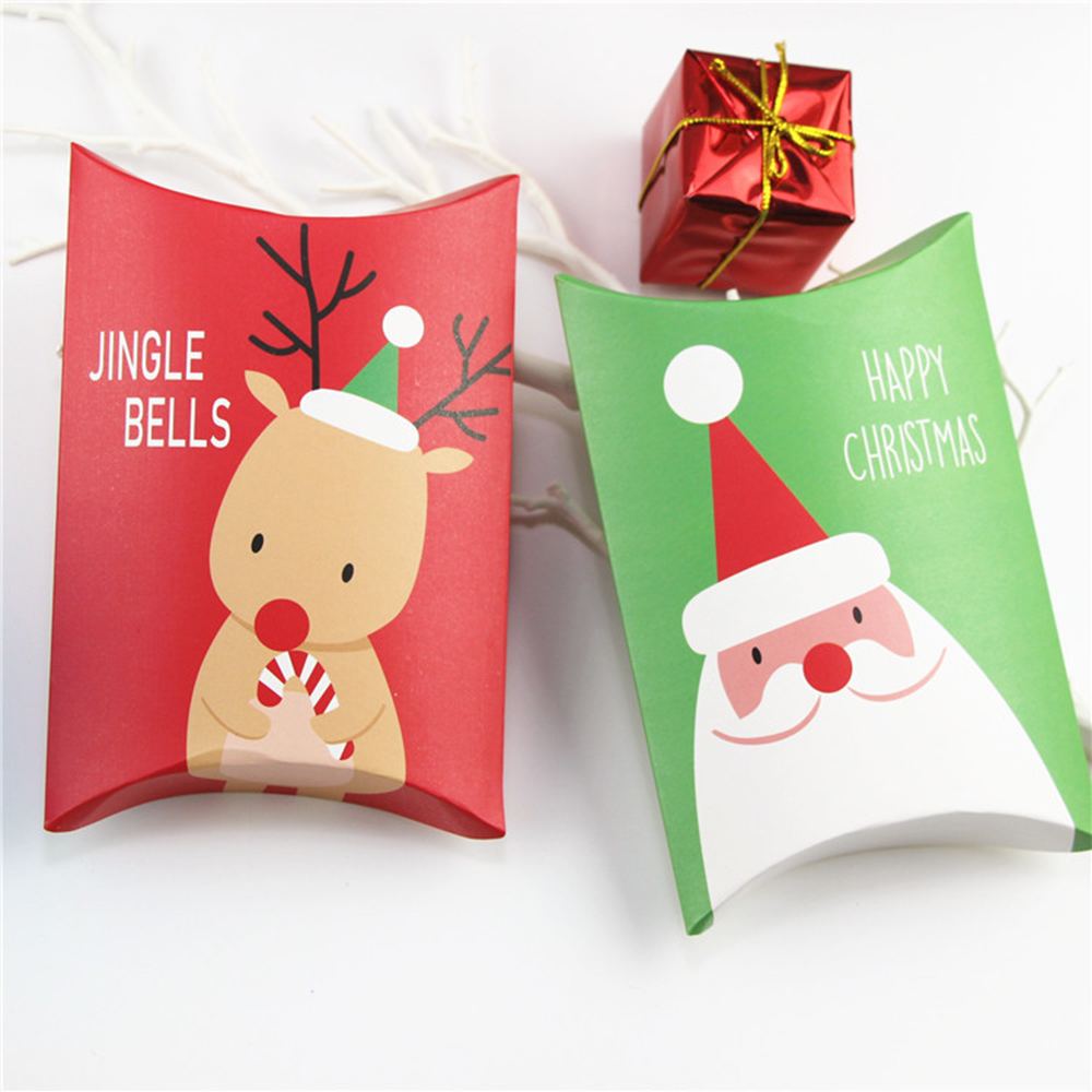 5/10pcs Pillow Shape Christmas Gift Box Xmas Tree Elk Christmas Candy Box Bag Paper Cookies Boxes Christmas Fold DIYGift Bag