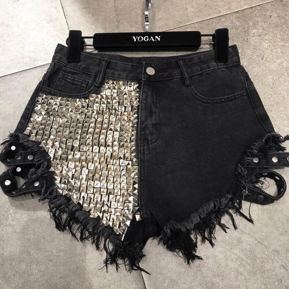 Wholesale Tassel Stitching Rivet Beading Wide Leg Denim Shorts Female High Waist Badage Punk Street Style Hot Shorts Wq1622