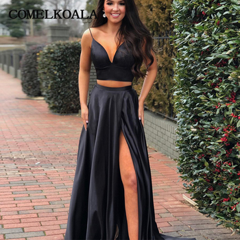 Sexy Two Piece Prom Dress With High Slit Simple Satin Plus Size Custom Made Formal Long Evening Gown Women Special Event Dresses