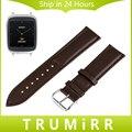 18mm faixa de relógio de couro genuíno para asus zenwatch 2 activite withings wi502q das mulheres pop aço correia de pulso pulseira marrom preto