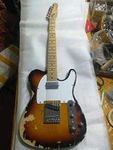 Одежда высшего качества GYTL-2055 античный сделать старый 3TS цвет белая пластина клен гриф гитара Telecaster, бесплатная доставка