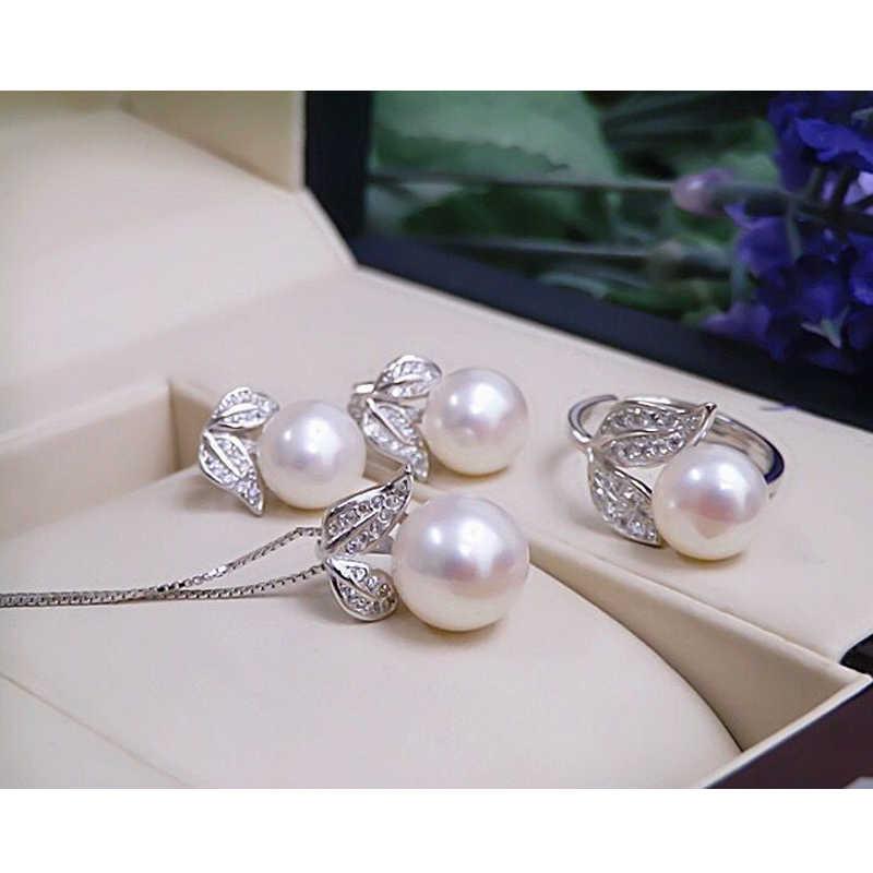 Perle boucles d'oreilles collier pendentif anneau pour les femmes naturel d'eau douce blanc perle bijoux ensemble 925 bijoux en argent sterling ensembles cadeau