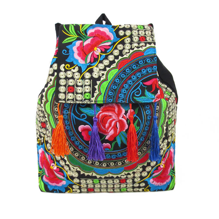 New National Chinese Style Embroidery Backpack Handmade Embroidered Shoulder Bag School Travel Tassel Backpack korean style different flowers and plant of 50 chinese embroidery handmade art design book