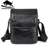 DongFang Miracle High Quality Genuine Leather Men Messenger Bags Casual Shoulder Bag Male Multifuntional Small Bag