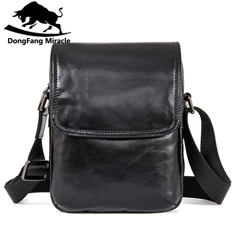 DongFang Miracle haute qualité en cuir véritable hommes Messenger sacs décontracté sac à bandoulière mâle multifonctionnel petit sac